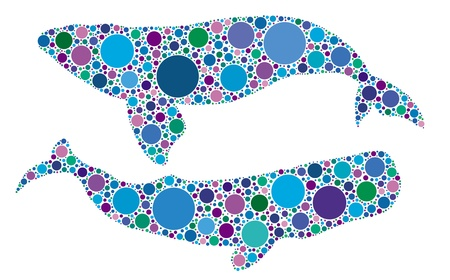 dotted whale silhouettes Vector
