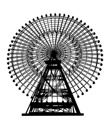 amusement park black and white: ferris wheel silhouette