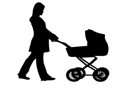silhouette of woman pushing carriage