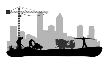 construction team: work site illustration