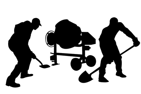 silhouettes of workers  Illustration
