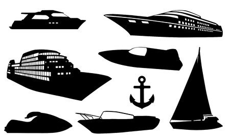 yacht isolated: boates silhouettes isolated on white