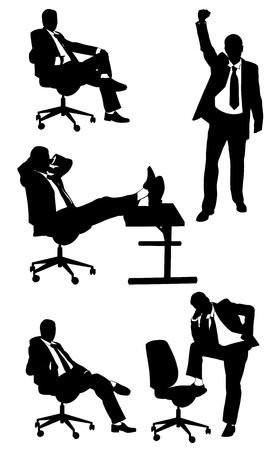 siluetas de hombres de negocios aislados en blanco