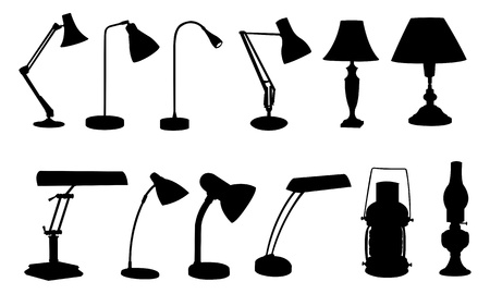 lamp silhouette: desk lamps isolated on white