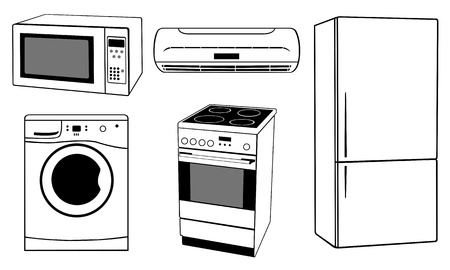 白で隔離される家 apliances  イラスト・ベクター素材