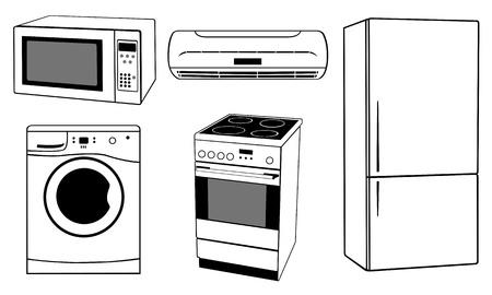 black appliances: apliances casa isolata su bianco