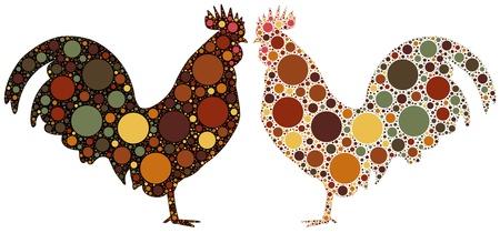 gallo: la silueta del gallo de puntos