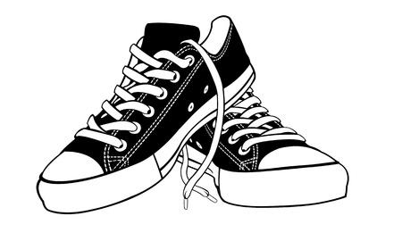 スニーカー: 白で隔離される靴