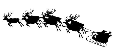 sledge: Santa con renos Vectores