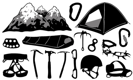 climbing mountain: climbing equipment Illustration
