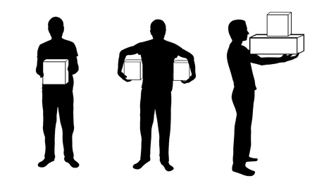 silhouettes of men holding boxes Illustration