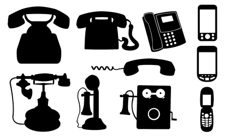 telephones isolated on white Vector