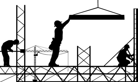 worker silhouette: work site illustration