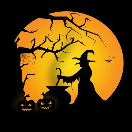 witch silhouette: halloween illustration Stock Photo