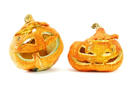 rotten pumpkins isolated photo
