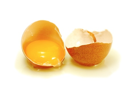 yolk: cracked egg on white
