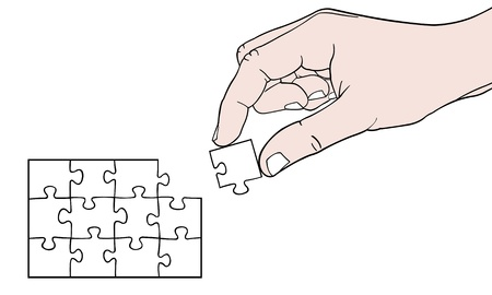 hand with puzzle Stock Vector - 12375837
