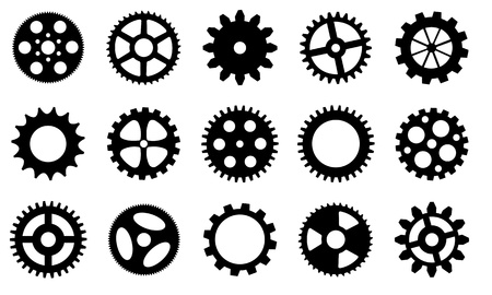 spinning wheel: gear wheels set isolated