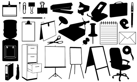 office supplies: office supplies set isolated on white