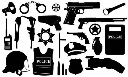 police equipment set isolated