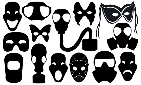 gas masks: collage with masks isolated on white