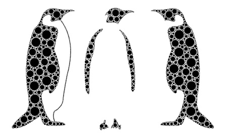 dotted penguins isolated on white Stock Vector - 15472381
