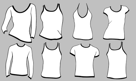 different types of shirts isolated on gray