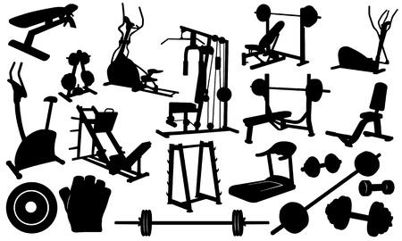 treadmill: set of gym elements isolated on white Illustration