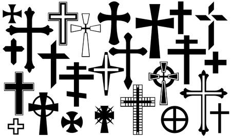 白で隔離される黒い十字セット  イラスト・ベクター素材