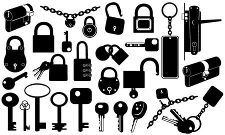 keys isolated: cerraduras y llaves aisladas en blanco