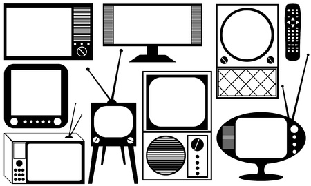 televisioan sets isolated on white Stock Vector - 15758512