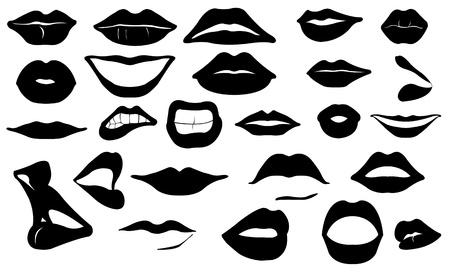 woman mouth open: lips set
