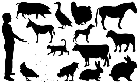black and white farm: farm animal silhouettes