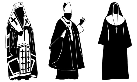 sacerdote: conjunto de diferentes personas religiosas Vectores