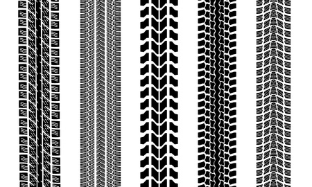 track: set of different tire tracks isolated Illustration