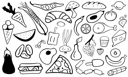 pizza ingredients: food doodle