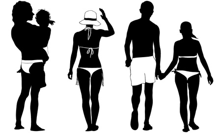 walking on hands: set of people dressed for the beach