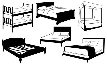 白で隔離されるベッドのセット  イラスト・ベクター素材