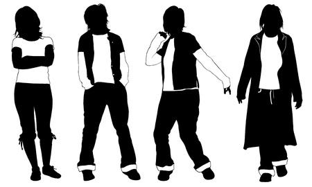 white pants: set of people posing