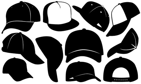 hip hop style: set of caps isolated on white Illustration