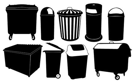 receptacle: set of garbage bins Illustration