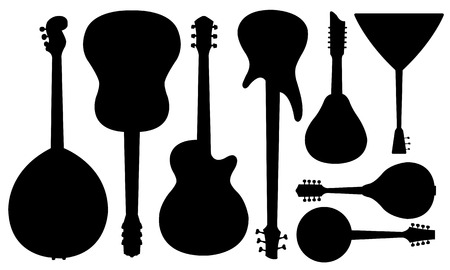 acoustic: set of guitars isolated on white