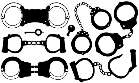 arrest: handcuffs set isolated Illustration