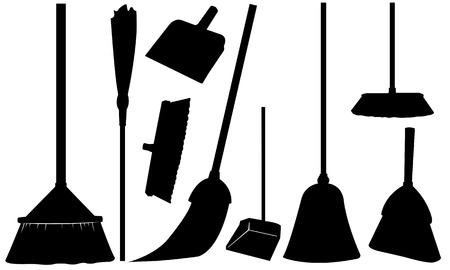 dustpan: set of different brooms Illustration
