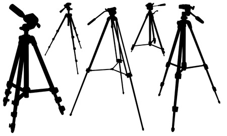 mounting: set of tripods isolated