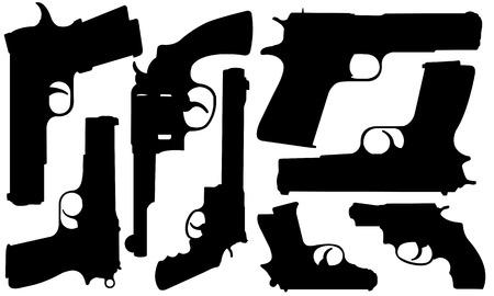 pistol: set of different pistols Illustration