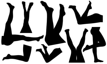 culo di donna: insieme di diverse gambe femminili Vettoriali