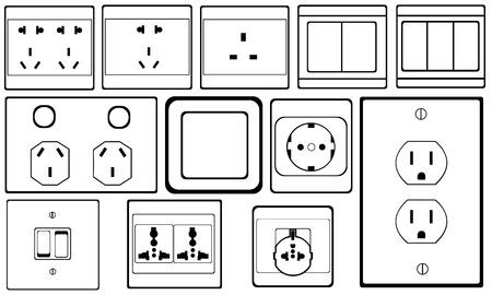 enchufe de luz: conjunto de interruptores y tomas de corriente