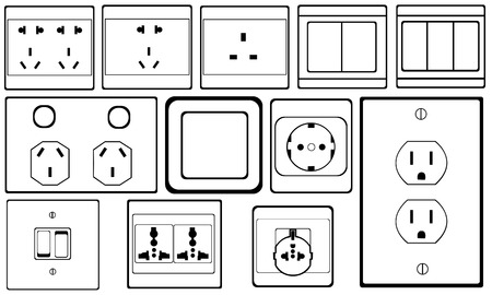 switch plug: set of switches and wall sockets