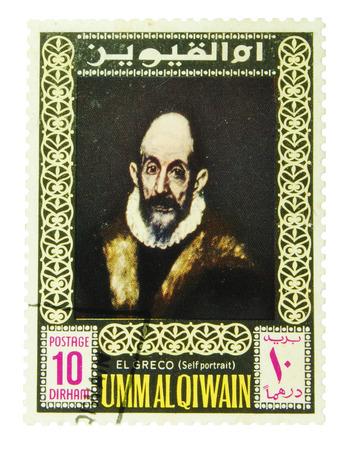 greco: Umm Al Qiwain, United Arab Emirates - CIRCA 1970-1980  postage stamp depicting self portrait by El Greco, CIRCA 1970-1980